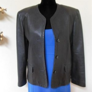 Saks Fifth Avenue The Works Black Leather Jacket